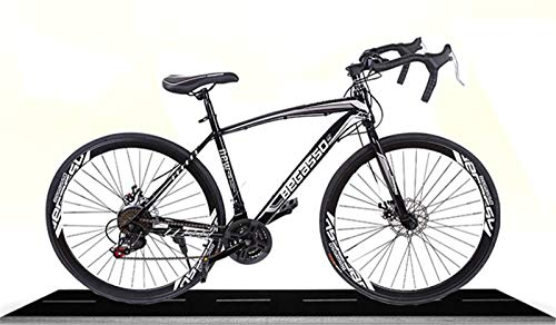 Road Bike, Shimanos Full Suspension 700c Racing Bike, High Carbon Steel Frame City Commuter Bicycle with 21 Speeds Dual Disc Brake, Urban Track Bike for Women&Men
