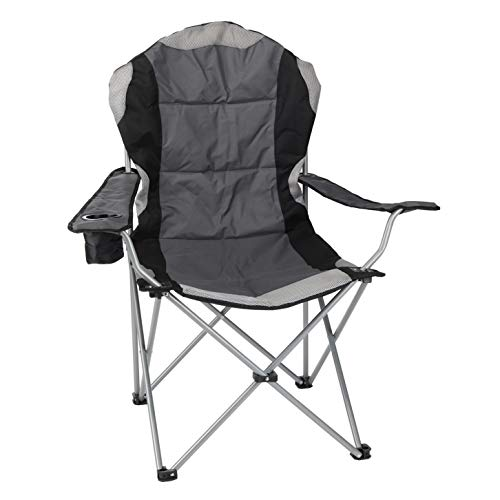 Spetebo Regiestuhl Deluxe bis 150 Kg belastbar - Farbe: anthrazit - Campingstuhl extra breit, extra bequem, extra stabil - Angelstuhl Campingstuhl
