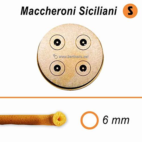 Trafila in bronzo per Maccheroni siciliani Bucatini Lisci per macchina pasta fresca professionale VIP/2 2,8kg e VIP4 4kg e compatibile FIMAR MPF 2,5 e MPF 4