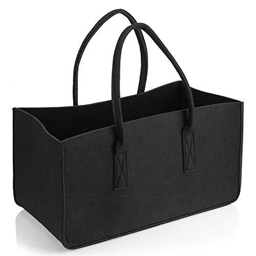 Chaowen - Cesta grande para leña, cesta de almacenamiento de fieltro para la compra, cesta para la colada con asa para transportar madera, juguetes, ir de compras (negro)