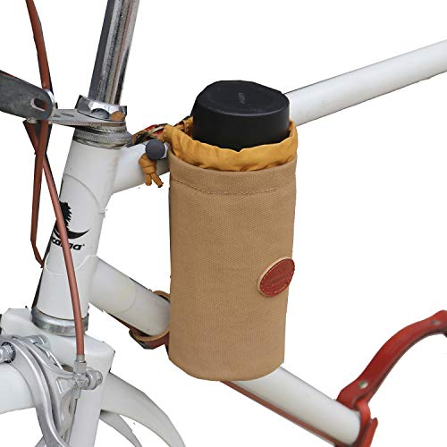 TOURBON Canvas And Leather Bicycle Pouch Bike Cup Holder For Water, Coffee, Wine, Cell Phone Holder
