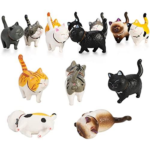 PHOGARY 9PCS Figuras de Gatos realistas, Set de Juguetes de Figuras de Gatitos, Gatito Huevos de Pascua Cake Topper Regalo de cumpleaños de Navidad para niños niños niñas niños Amante de los Gatos 🔥