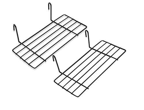 Mini Regal für Design Metall Wandgitter | Foto Eisen Gitter Raster Dekoration | Memo -Moodboard | Gridpanel | Wand Organizer | DIY Multifunktions -Grid Deko | Draht |25 x 10 cm Ablage (2X Schwarz)