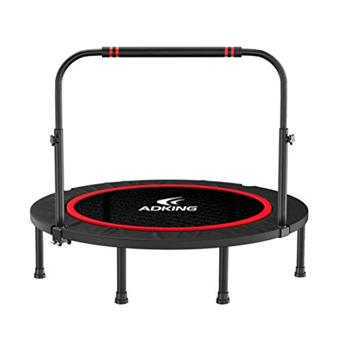 Trampoline Lxn Black Silent Fitness Mini with Adjustable Handrail – Indoor for Adults – Best Urban Cardio Workout Home Trainer, Covered Bungee Rope System – Max Limit 500 lbs