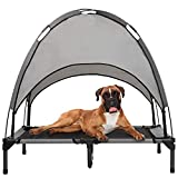 Hollypet Outdoor Dog Bed, Elevated Pet Cot with Canopy, Outside Portable for Camping Tents, Durable Oxford Fabric, Extra Carrying Bag