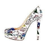 Zapatos de tacón Alto con Punta Redonda para Mujer Zapatos de tacón Fino con Plataforma Zapatos de Vestir Sexis de Moda para Fiesta de Boda