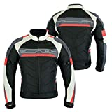 MOTORCYCLE ARMOURED HIGH PROTECTION CORDURA WATERPROOF JACKET BLACK/WHITE/RED ARMOUR CJ-9494 (3XL)
