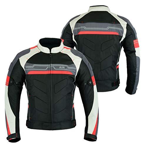 LeatherTeknik – Veste de moto renforcée en cuir pleine fleur, haute protection, noir/rouge - CJ-9412