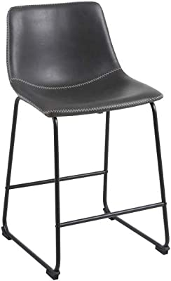 Phoenix Home Malaga Faux-Leather Counter-Height Bar Stool, Saddle Brown, Set