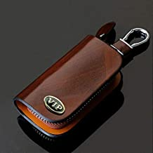 SNCN Genuine Leather Car Key Chain Wallets Cover Case Bag for SsangYong Rexton Musso XLV Tivoli Korando Rodius Actyon Kyron Color Name Brown with VIP Logo