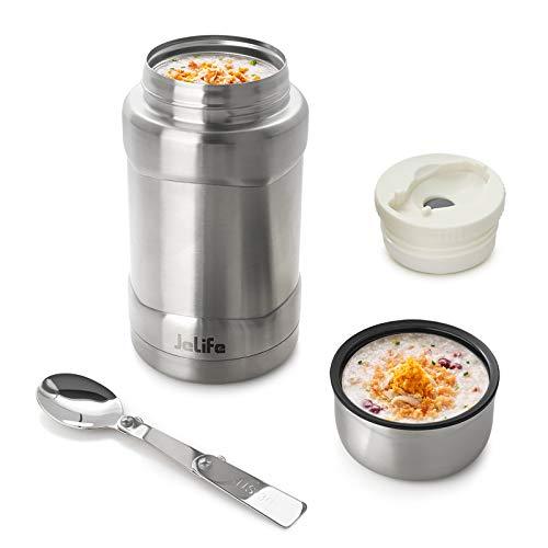 Jelife Thermobehälter Speisegefäß Thermo Isolierbehälter Warmhaltebehälter mit Löffel aus Edelstahl für Essen Suppe Speisen Brei Babynahrung