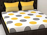 LORETO – A QUALITY LINEN BRAND 144 TC Cotton Double Bedsheet with 2 Pillow Covers - Polka Dots, Yellow & Grey