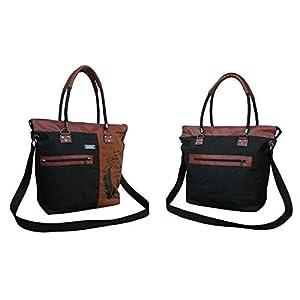 Wasserabweisende schwarz-khaki Handtasche mit Print. Praktische Wasserdichte Umhängetasche mit vielen Innentaschen und…