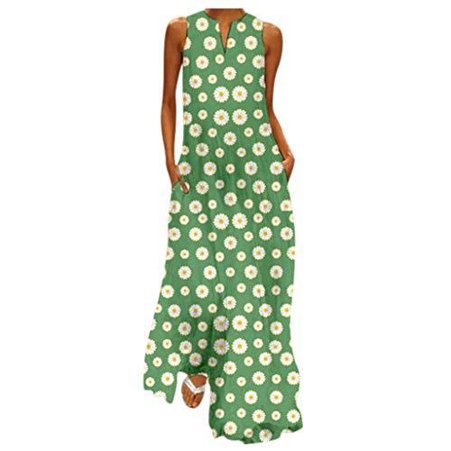 Janly Clearance Sale Vestido largo para mujer, tallas grandes, vintage, cuello en V, estampado floral, sin mangas, para verano (verde/XXXL)