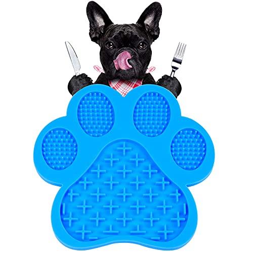 Leckmatte Hund Schleckmatte Hund Lickimat Hunde Schleckmatte Schleckplatte Slow Feeder Mit Super Starke Saugkraft, für Ablenkung Spielzeug, Hunde Leckmatte zum Baden, Pflegen und Hundetraining (Blau)