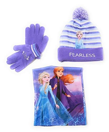 Gorro, Bufanda tubular y Guantes Frozen Disney para niñas - Set de invierno Disney Frozen Gorro, Braga de Cuello con forro interior y Guantes (54 cms)