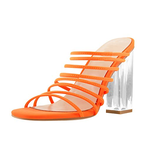 MissHeel Women's Slip-on Strappy Sandals Clear Square High Heels Dating Wearing Orange Size 11