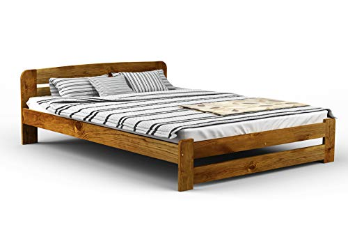 New Solid Wooden Pine Bed Frame with plywood slats ONE: (OAK, 150 cm_x_200 cm)