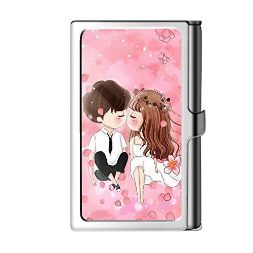 Porta tarjeta de visita con diseño astillado, caja de crédito con nombre de cartera de acero inoxidable para hombres y mujeres-Kiss