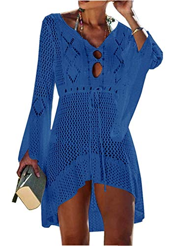 Jinsha Vestido de Playa - Mujer Pareos y Camisola de Playa Sexy Hueco Traje de Baño Punto Bikini Cover up (Blue)