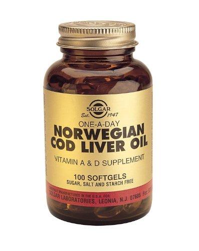 Solgar-Norwegian Cod Liver Oil Softgels (Vit. A & D Supplement) 100