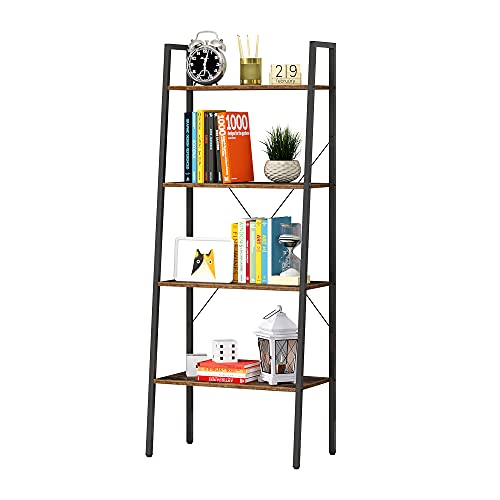 Function Home 4-Tier Ladder Bookshelf, Modern Leaning Bookcase, Easy Assembly,Wood and Metal EtagereBookcase for Living Room, Office in Rustic Brown