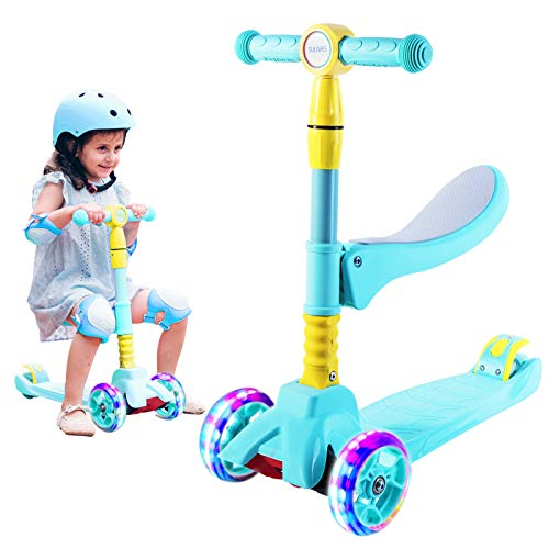 SULIVES 3 Wheel Scooter for Kids Ags 2-12 - Foldable Scooter with Removable Seat, 3 Adjustable Heights, Extra-Wide Deck with 4 Light-Up Wheels, Best Gifts for Boys and Girls Toddler (Blue)