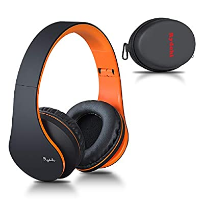 Wireless Bluetooth Headphones Over Ear, Rydohi Hi-Fi Stereo Headset with Deep Bass, Foldable and Lightweight, Wired and Wireless Modes Built in Mic for Cell Phones, TV, PC and Traveling (Black-Orange) by Rydohi