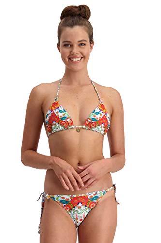 Piha Bikini-Sets für Frauen – Loop-Tri-Top und Stringhose – Latina Folk perfekt Sommer Urlaub wesentliche Badekostüme in Geo-Blumendruck Gr. 36, multi