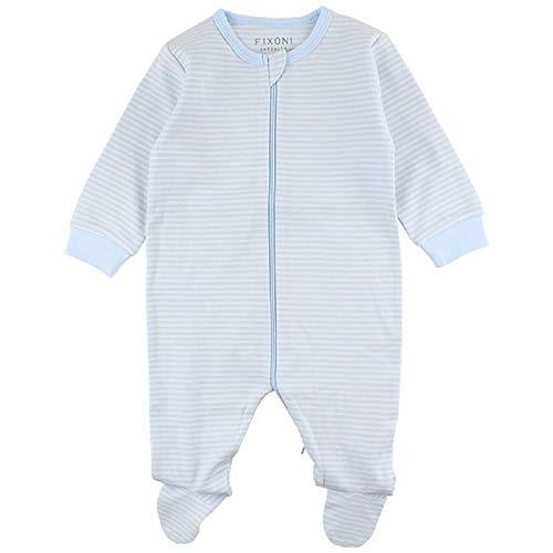 Fixoni 32763 - Baby Schlafstrampler Schlafanzug 100 % Baumwolle (56, hellblau/weiß)