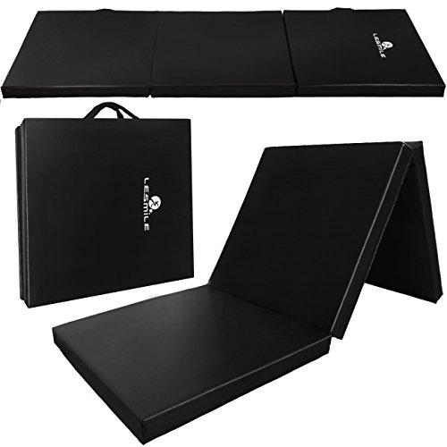 LESMILE PU Leather Gymnastics Mat,Gym Folding Tumbling Exercise Mats Blue