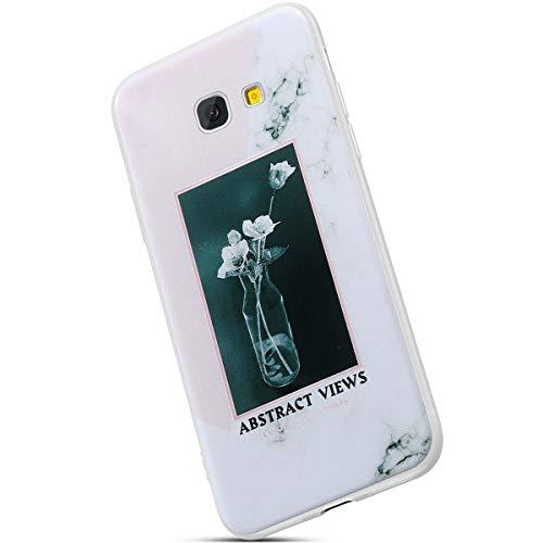 Saceebe Compatible avec Samsung Galaxy A5 2017 Coque Ultra Mince Crystal Clear Housse de Protection avec Fleur Marbre Motif Dessin Étui Silicone Souple Clair Housse TPU Bumper,Fleur Blanc