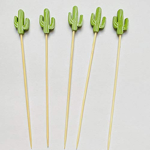 TSP 100pc12cm Cactus Forma Bamboo Pick Buffet Cupcake Fruta