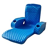 TRC Recreation Folding Baja Floating Swimming Pool Lake Portable Water Lounger Comfortable Recliner Chair with 2 Armrest Cup Holders, Bahama Blue