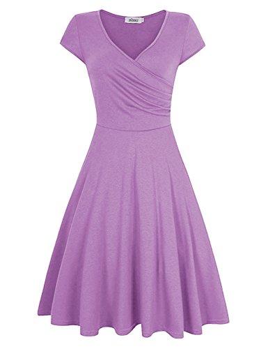 MISSKY Women Short Sleeve V Neck Knee Length Slim Summer Swing Dress (M