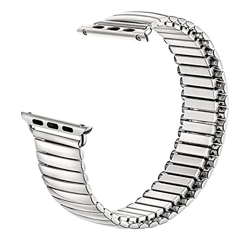 HPTQJ Elastico Cinturino in Acciaio Inox Cinturino in Acciaio Inossidabile Braccialetto di Metallo allungabile Cintura Retrattile sostituibile Acciaio Lucido Opaco sostituibile Regalo Perfetto