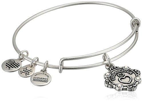 Alex and Ani Womens Because I Love You, Goddaughter Charm Bangle Bracelet, Rafaelian Silver, Expandable