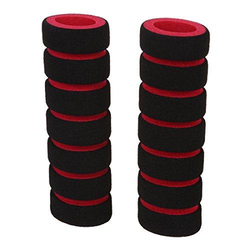 Gesh Empuñadura antideslizante para manillar de bicicleta, 2 unidades, color negro y rojo + brida para cables