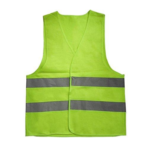 Deliu Chaleco de Advertencia Reflectante Ropa de Trabajo Chaleco Protector de Alta Visibilidad Verde XXXL