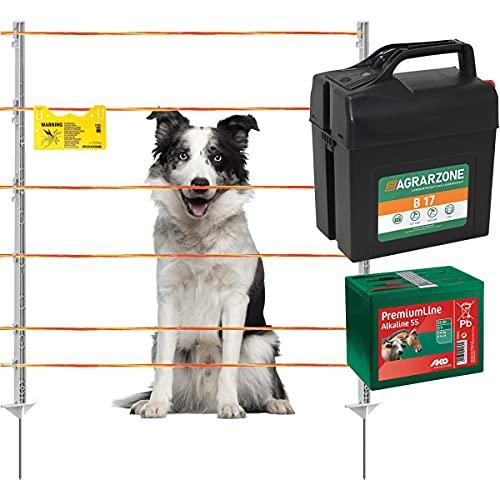 Agrarzone Elektrozaun Komplett-Set für Hunde B17 9V/12V mit Litze 250m | mobiler Hundezaun mit Weidezaungerät für Hunde Katzen & Kleintier | variable Zaunlänge & Höhe | Gartenzaun Weidezaun Katzenzaun