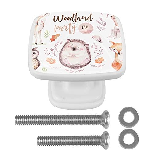 Woodland Party Fox Owl Ciervo erizo pomos para gabinete de cocina, tiradores de cristal, tiradores de cristal, para aparadores, armarios, mesita de noche, estantería,
