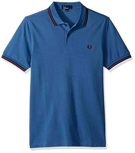 Fred Perry Slim Fit Twin Tipped Polo schoolblue/Red