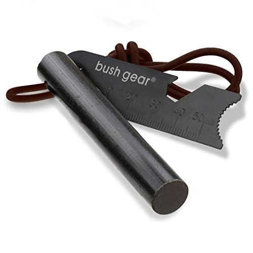 BUSHGEAR Black Steels Feuerstahl XL - Hosentaschen Größe - Starker Funkenflug - Feuerstarter für Outdoor, Survival, Bushcraft