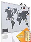 VACENTURES Magnetische Pinnwand Weltkarte XXL White inkl. 2 x 15 magnetische Pins I Markiere Deine Reiseziele I Sammel Fotos und Magnete I Magnet Poster DIN A0 - World map