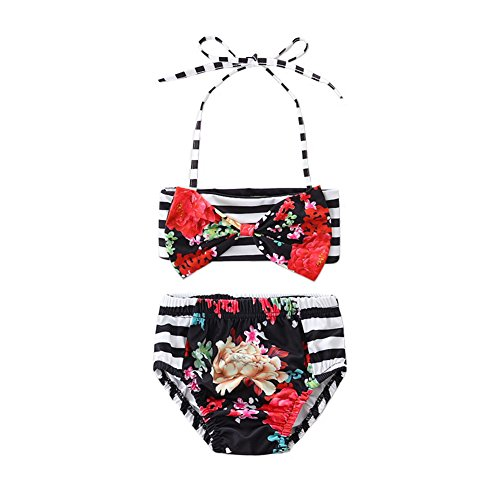 Scfcloth Cute Baby Girls Swimsuit 2Pcs Halter Stripe Bow Swimwear Beach Bikini Set Black 4T