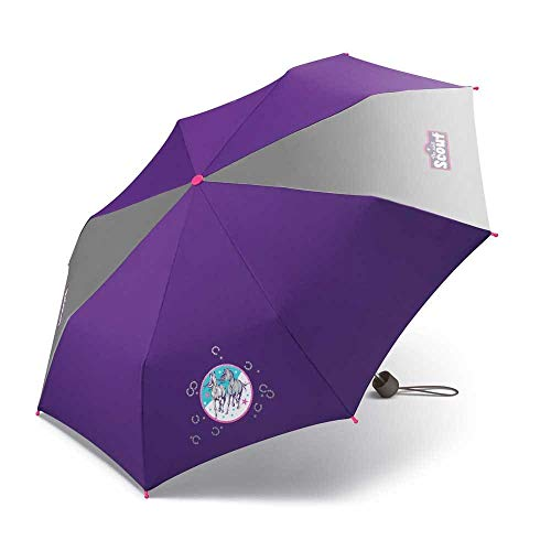 Scout Kinder Regenschirm Taschenschirm Schultaschenschirm mit großen Reflektionsflächen extra leicht Wild Horse/Pferde