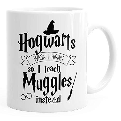 MoonWorks - Taza de café con texto en inglés 'Hogwarts wasn't hiring so I teach muggles instead', color blanco, talla única