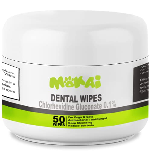 MOKAI Dental Wipes for Dogs and Cats | Dog Dental Wipes with Chlorhexidine Great for Dog Teeth Cleaning and Cat Teeth Cleaning Preventing Plaque Tartar Bad Breath Tooth Decay and Gingivitis (50 Pads)