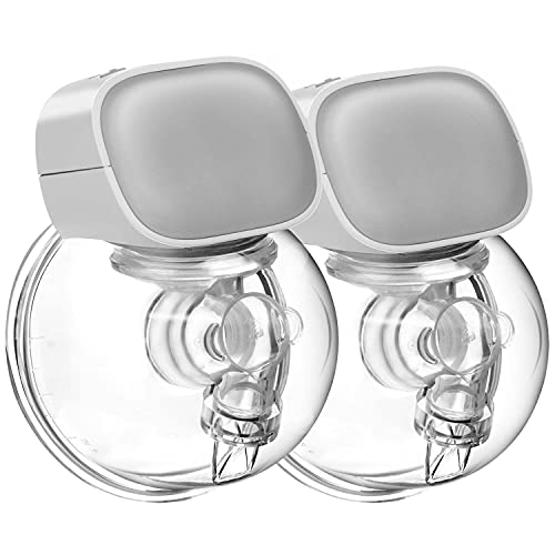 Bwcece Wearable Breast Pump, Hands-Free Breastpump Portable Electric Breastfeeding Pump, Rechargeable Milk Pump Wireless, Quiet Strong Suction Power, 24mm Flange(2PCS)