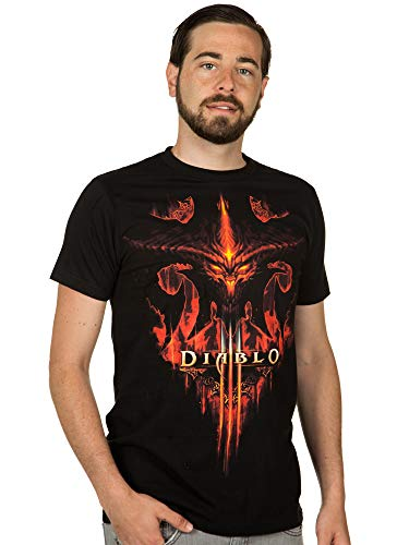 TAILAD Diablo III Burning Men's Short Sleeve Black Tee Shirt